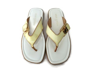 Louis Vuitton Thong Flip Flop Patent Leather Yellow Sandals