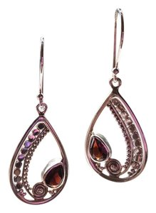 Sterling Silver And Garnet Earrings sterling silver and garnet earrings