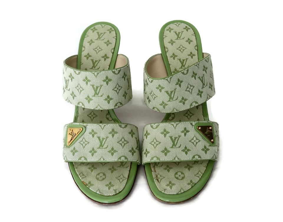 e1e1b9917d43 Louis Vuitton Green Monogram 2 Strap Mules Slides Size US 9 Regular ...