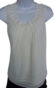 Coldwater Creek Beaded Chiffon Layered Sleeveless Top Ivory