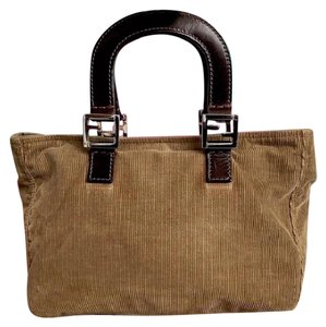 Fendi Corduroy Brown Tote in Beige