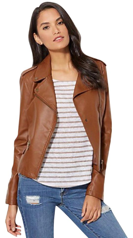 f09123f78 Brown Faux Leather Moto Jacket