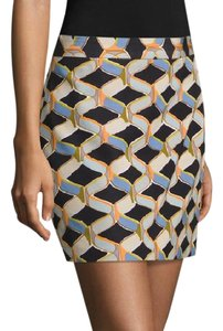 MILLY Lined Side Sip Closure Mini Skirt Multi color