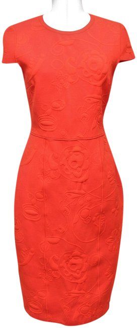 Item - Red (Orange Undertone) Flower Jacquard Abito Knit Cap Sleeve Zipper 42 Bnwt Mid-length Cocktail Dress Size 4 (S)