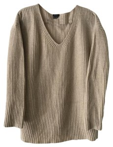 Theory V-neck White Tan Wool Sweater