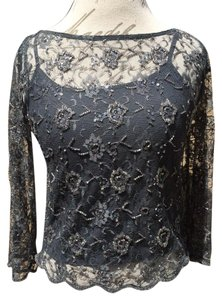 Alice + Olivia And Lace Lace Blouse Date Night Top gray