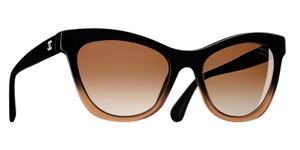 Chanel CHANEL Cat Eye Black And Brown Ombre Sunglasses -5350 Polarized Lenses
