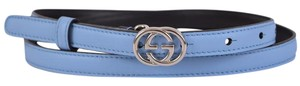 Gucci New Gucci Women's 370552 Blue Leather Interlocking GG Buckle Belt 34