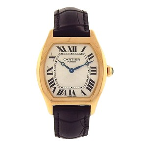 Cartier Cartier Tortue 2496C 18k Yellow Gold Black Leather Manual Silver Men's
