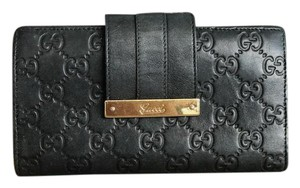 Gucci Gucci Black Guccissima Leather Bifold Long Wallet