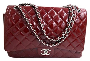 Chanel Classic Flap Maxi Patent Leather Red Shoulder Bag