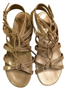 Easy Spirit E360 Ecollection Leather Strappy Tie Gold Sandals