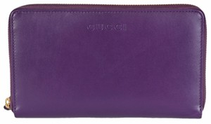 Gucci New Gucci 321117 XL Royal Grape Purple Leather Zip Around Wallet