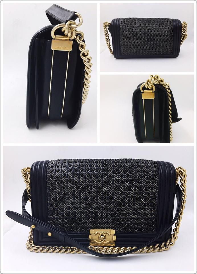Chanel Black Gold Woven Calf Leather Quilted Boy Flap Shoulder Bag ... : chanel quilted boy flap - Adamdwight.com