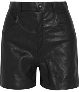 Saint Laurent Leather Leather Shorts Black