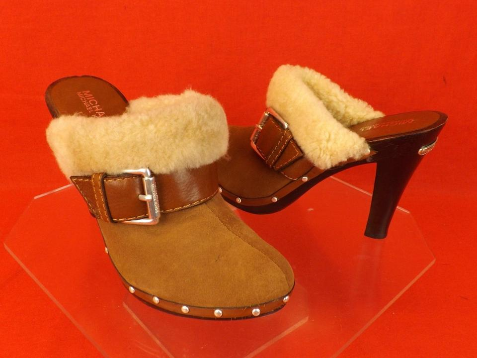 80dcbe73a7b1b Michael Kors Brown Luggage Suede Shearling Fur Studded Wooden Clogs  Platforms Size US 7.5 Regular (M, B) 52% off retail