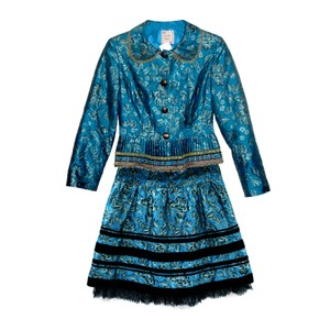Nanette Lepore teal floral brocade pleated jacket velvet trim skirt set
