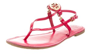 Tory Burch Ankle Strap Patent Leather Gold Hardware Miller Reva Red, Gold Sandals