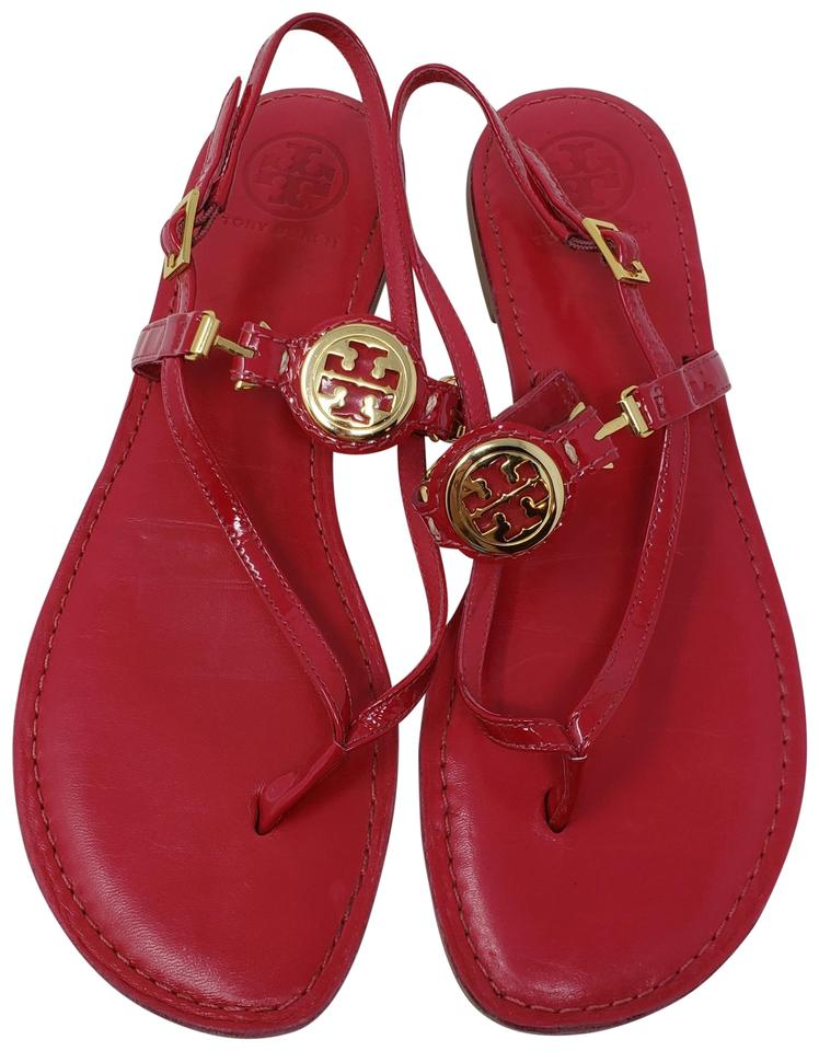 45a564801182 Tory Burch Red Gold Raspberry Patent Leather Slingback Sandals Size ...