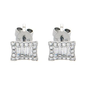 Luxo Jewelry 18K Solid White Gold 0.51 Ct Baguette & Round Diamonds Stud Earrings