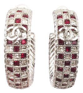 Chanel Chanel Brand New Silver Hoop Clear Red Crystal Piercing Earrings