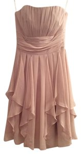 David's Bridal Champagne Chiffon Casual Bridesmaid/Mob Dress Size 2 (XS)