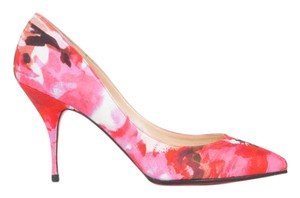 Christian Louboutin Louboutin Pink Floral Canvas Pink Red Pumps