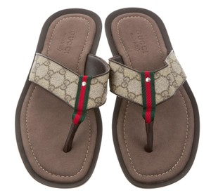 Gucci Guccissima Men Monogram Interlocking Gg Web Beige, Grey Sandals