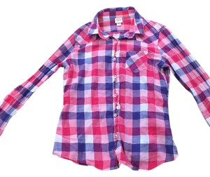 Mossimo Supply Co. Checkered Button Down Shirt Pink/Purple/Navy/White