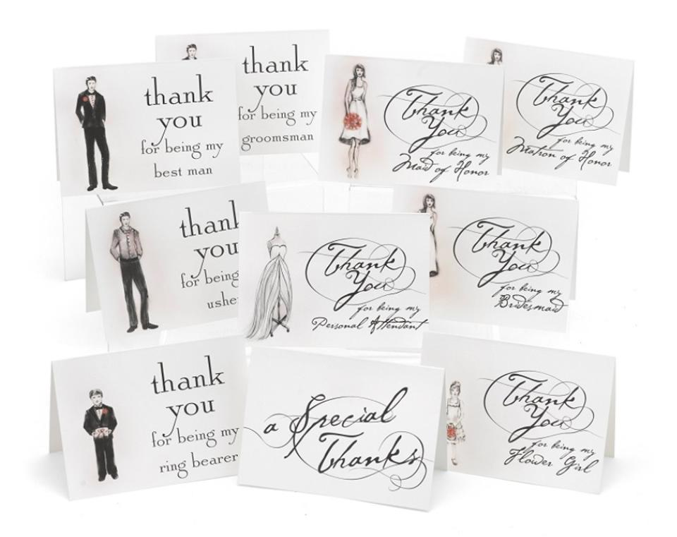 Thank You Cards 30 Count Bridesmaid Flower Girl Maid Of Honor Thank