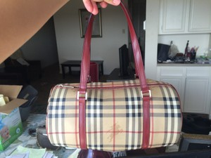 Burberry Almost New Canvas Monogram Tote in classic logo