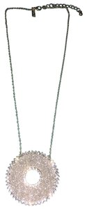 Topshop Silver Glitter Crystal Disc Necklace