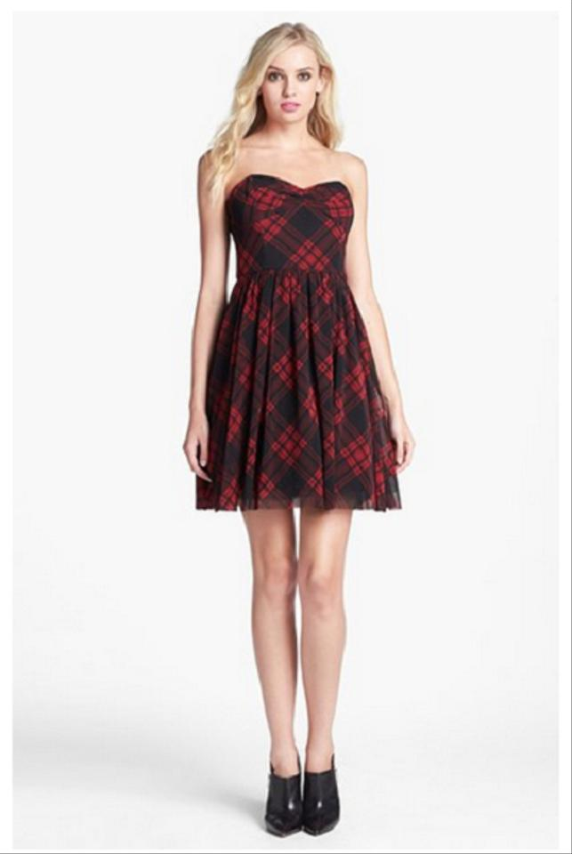 Betsey Johnson Red and Black Fit & Flare Mesh Short Cocktail Dress ...