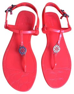 Coach Pansy Orange Jellys Pvc Jelly Neon Orange Sandals