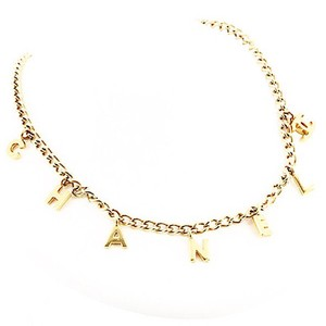chanel gold plated letter charm necklace