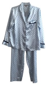 Charter Club Baggy Pants light blue with navy polka dots