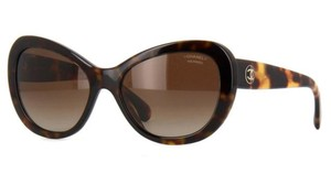 Chanel Sexy Cat Eye Black And Havana Brown Sunglasses - Style 5321