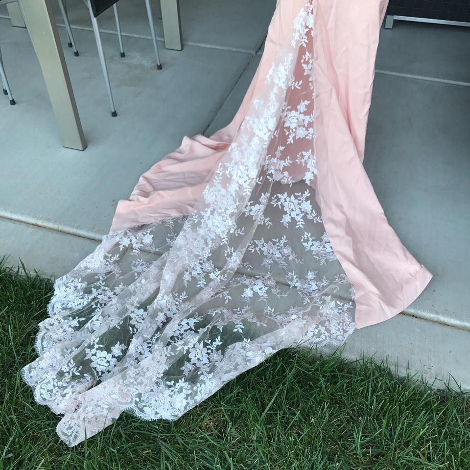 Pink Blush Lace & Satin Train Gown Vintage Wedding Dress Size 4 (S ...