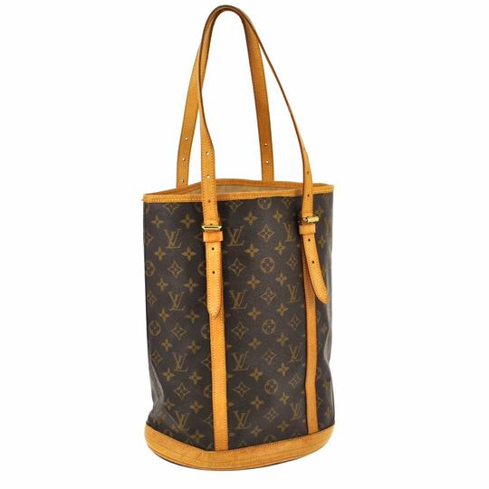 Preload https://item1.tradesy.com/images/louis-vuitton-bucket-monogram-gm-brown-canvas-leather-shoulder-bag-2142430-0-2.jpg?width=440&height=440