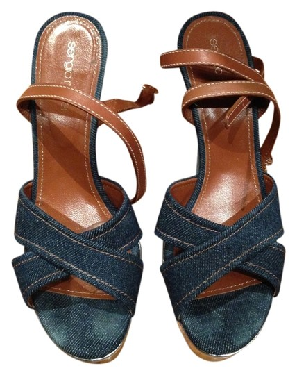 Sergio Rossi denim/metallic Wedges