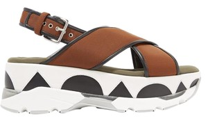 MARNI Leather Neoprene chocolate, black, army-green and white Platforms