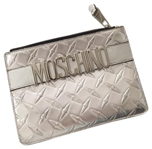 Moschino metallic silver Clutch