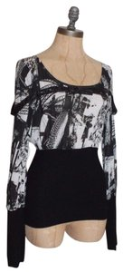 Lip Service Belt Gothic Printed Ribbed Service Top BLACK WHITE