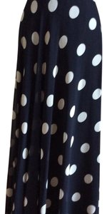 Ann Taylor Maxi Skirt Navy with white polka dots