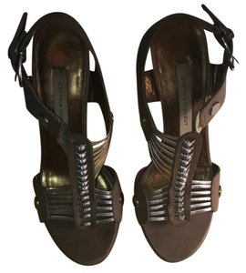 Cynthia Vincent Grey and Silver Sandals