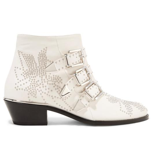 chlo new chloe susanna studded leather ankle white boots on sale 8 off boots booties on sale. Black Bedroom Furniture Sets. Home Design Ideas