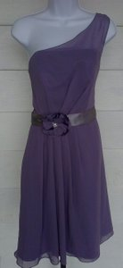 Alexia Designs Plum Polyester One Sheer Strap Occasional Satin Sash Silk Flower Feminine Bridesmaid/Mob Dress Size 10 (M)