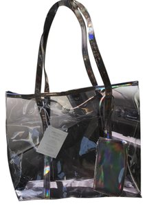 Jimmy Choo Choo Jimmy Clutch Tote in Clear and holographic purple