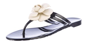 Chanel Jelly Camellia Interlocking Cc Logo Gold Hardware Black, White Sandals