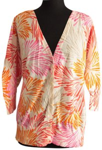 Lane Bryant Button Down V-neck Three Quarter Sleeve Patterned Top Multi Color